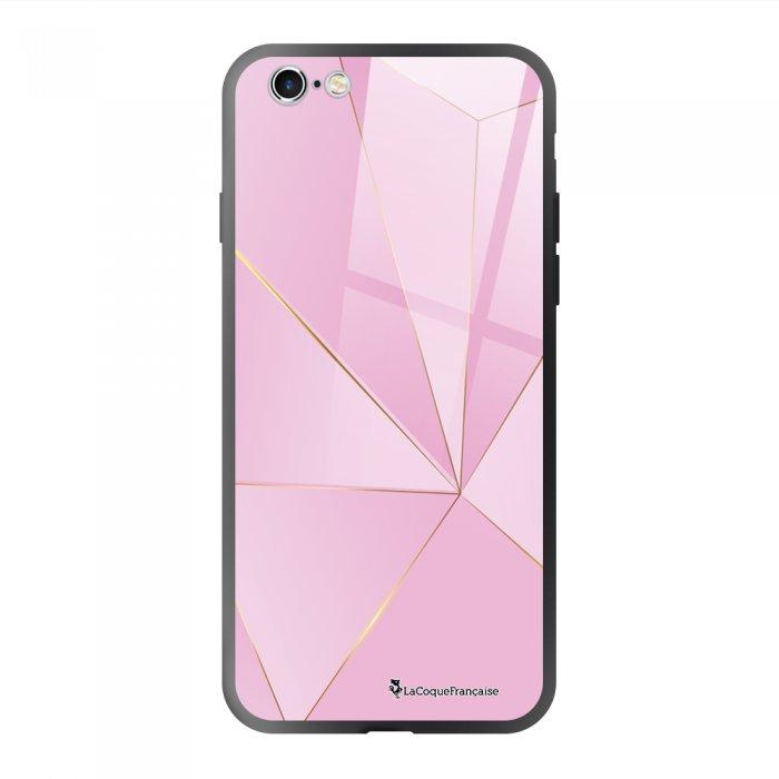 Coque en verre trempé iPhone 6/6S Rose géométrique Ecriture Tendance et Design La Coque Francaise.