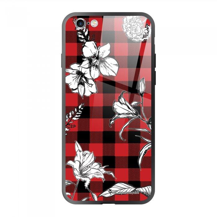 Coque en verre trempé iPhone 6/6S Tartan rouge et noir Ecriture Tendance et Design La Coque Francaise.