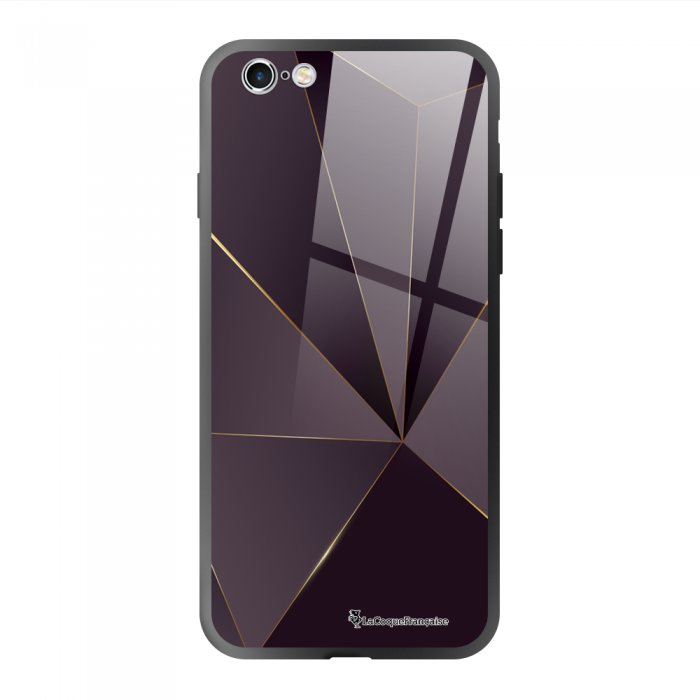 Coque en verre trempé iPhone 6/6S Violet géométrique Ecriture Tendance et Design La Coque Francaise