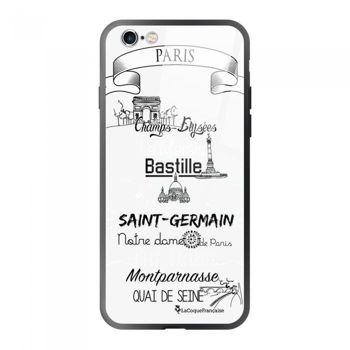 Coque en verre trempé iPhone 6 Plus / 6S Plus Quartiers de Paris Ecriture Tendance et Design La Coque Francaise.