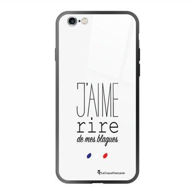 Coque en verre trempé iPhone 6 Plus /6S Plus J'aime rire de mes blagues Ecriture Tendance et Design La Coque Francaise