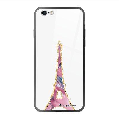 Coque en verre trempé iPhone 6 Plus /6S Plus Tour Eiffel Pierre Rose Ecriture Tendance et Design La Coque Francaise