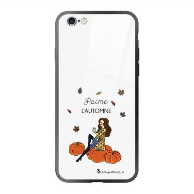 Coque en verre trempé iPhone 6 Plus /6S Plus J'aime l'automne Ecriture Tendance et Design La Coque Francaise