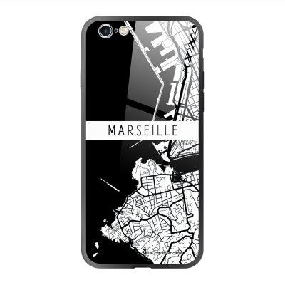 Coque en verre trempé iPhone 6 Plus /6S Plus Carte de Marseille Ecriture Tendance et Design La Coque Francaise