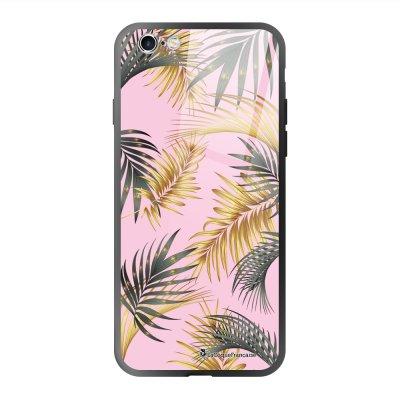 Coque en verre trempé iPhone 6 Plus /6S Plus Marbre rose et fougères Ecriture Tendance et Design La Coque Francaise