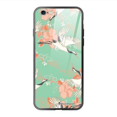 Coque en verre trempé iPhone 6 Plus /6S Plus Grues fleuries Ecriture Tendance et Design La Coque Francaise