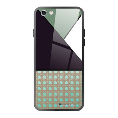 Coque en verre trempé iPhone 6 Plus /6S Plus Triangles bleus et violet Ecriture Tendance et Design La Coque Francaise