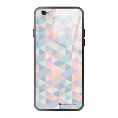 Coque en verre trempé iPhone 6 Plus /6S Plus Triangles multicolors Ecriture Tendance et Design La Coque Francaise