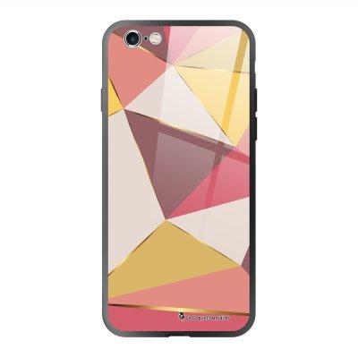 Coque en verre trempé iPhone 6 Plus /6S Plus Triangles roses Ecriture Tendance et Design La Coque Francaise