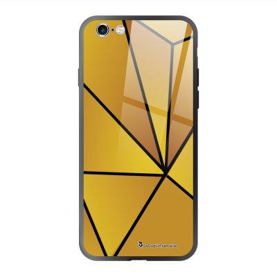 Coque en verre trempé iPhone 6 Plus /6S Plus Jaune géométrique Ecriture Tendance et Design La Coque Francaise