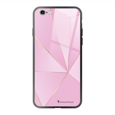 Coque en verre trempé iPhone 6 Plus /6S Plus Rose géométrique Ecriture Tendance et Design La Coque Francaise