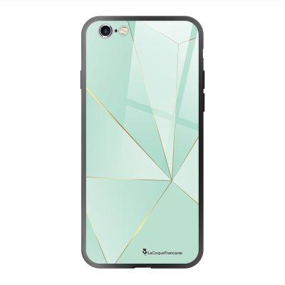 Coque en verre trempé iPhone 6 Plus /6S Plus Vert géométrique Ecriture Tendance et Design La Coque Francaise