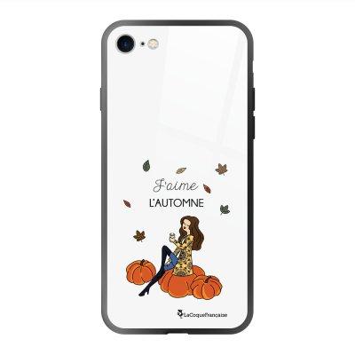 Coque en verre trempé iPhone 7 iPhone 8 J'aime l'automne Ecriture Tendance et Design La Coque Francaise