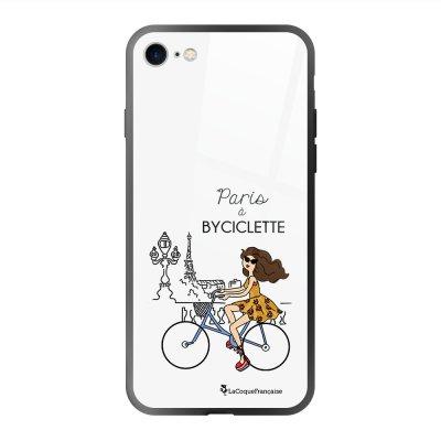 Coque en verre trempé iPhone 7 iPhone 8 Paris à Bicyclette Ecriture Tendance et Design La Coque Francaise