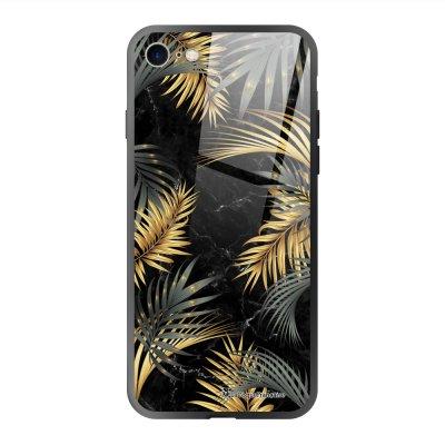 Coque en verre trempé iPhone 7 iPhone 8 Marbre noir et fougères Ecriture Tendance et Design La Coque Francaise