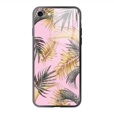 Coque en verre trempé iPhone 7 iPhone 8 Marbre rose et fougères Ecriture Tendance et Design La Coque Francaise