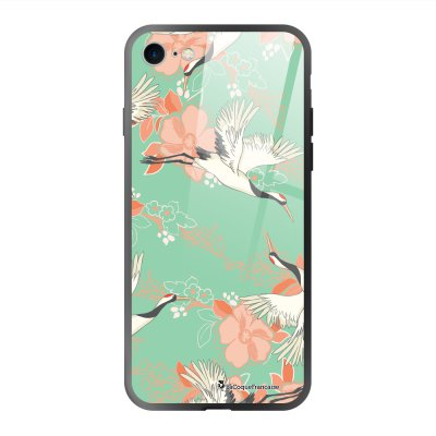 Coque en verre trempé iPhone 7 iPhone 8 Grues fleuries Ecriture Tendance et Design La Coque Francaise