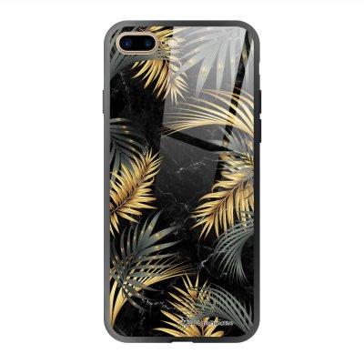 Coque en verre trempé iPhone 7 Plus / 8 Plus Marbre noir et fougères Ecriture Tendance et Design La Coque Francaise