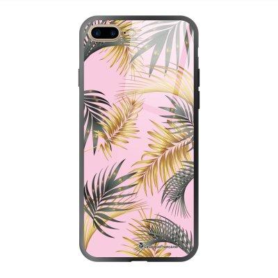 Coque en verre trempé iPhone 7 Plus / 8 Plus Marbre rose et fougères Ecriture Tendance et Design La Coque Francaise