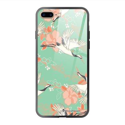 Coque en verre trempé iPhone 7 Plus / 8 Plus Grues fleuries Ecriture Tendance et Design La Coque Francaise
