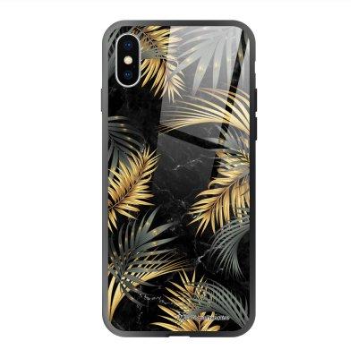 Coque en verre trempé iPhone X iPhone XS Marbre noir et fougères Ecriture Tendance et Design La Coque Francaise