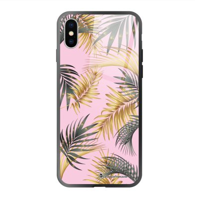 Coque en verre trempé iPhone X iPhone XS Marbre rose et fougères Ecriture Tendance et Design La Coque Francaise