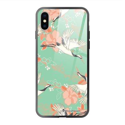 Coque en verre trempé iPhone X iPhone XS Grues fleuries Ecriture Tendance et Design La Coque Francaise