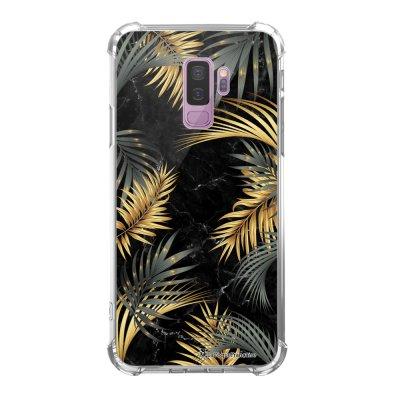 Coque Samsung Galaxy S9 Plus anti-choc souple avec angles renforcés transparente Marbre noir et fougères Tendance La Coque Francaise...