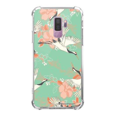 Coque Samsung Galaxy S9 Plus anti-choc souple avec angles renforcés transparente Grues fleuries Tendance La Coque Francaise...