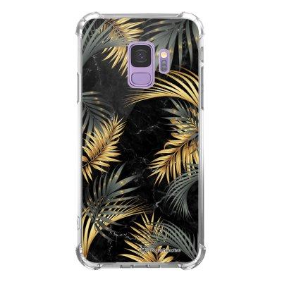 Coque Samsung Galaxy S9 anti-choc souple avec angles renforcés transparente Marbre noir et fougères Tendance La Coque Francaise...
