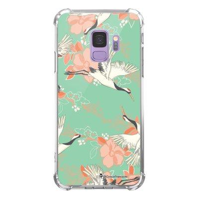 Coque Samsung Galaxy S9 anti-choc souple avec angles renforcés transparente Grues fleuries Tendance La Coque Francaise...