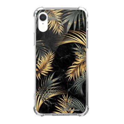 Coque iPhone Xr anti-choc souple avec angles renforcés Marbre noir et fougères Tendance La Coque Francaise...