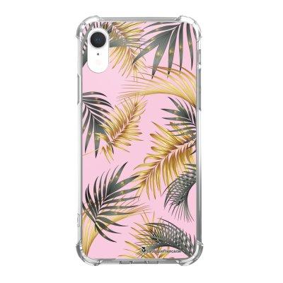 Coque iPhone Xr anti-choc souple avec angles renforcés Marbre rose et fougères Tendance La Coque Francaise...