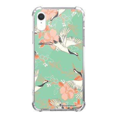 Coque iPhone Xr anti-choc souple avec angles renforcés Grues fleuries Tendance La Coque Francaise...