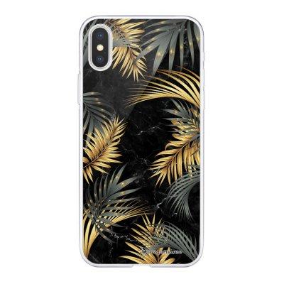Coque Souple iPhone Xs Max souple transparente Marbre noir et fougères Motif Ecriture Tendance La Coque Francaise