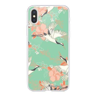 Coque Souple iPhone Xs Max souple transparente Grues fleuries Motif Ecriture Tendance La Coque Francaise