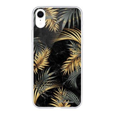 Coque Souple iPhone Xr souple transparente Marbre noir et fougères Motif Ecriture Tendance La Coque Francaise