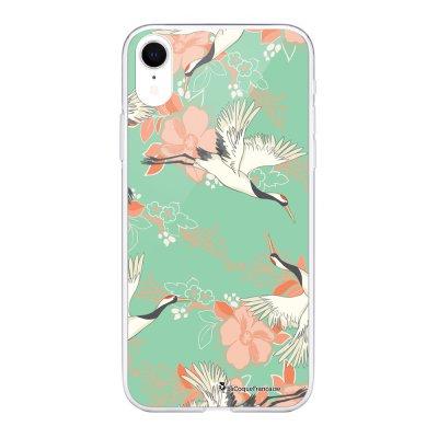Coque Souple iPhone Xr souple transparente Grues fleuries Motif Ecriture Tendance La Coque Francaise