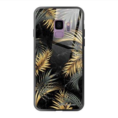 Coque en verre trempé Samsung Galaxy S9 Marbre noir et fougères Ecriture Tendance et Design La Coque Francaise
