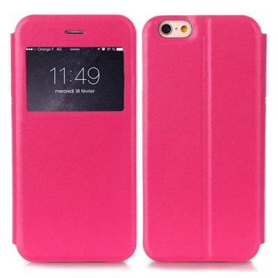Etui livre fenêtre rose nacré pour Apple iPhone 6