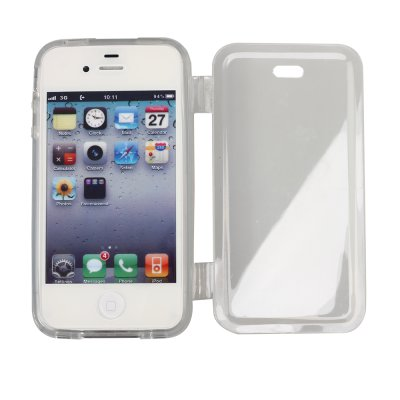 Etui livre gris transparent pour Apple iPhone 4/4S