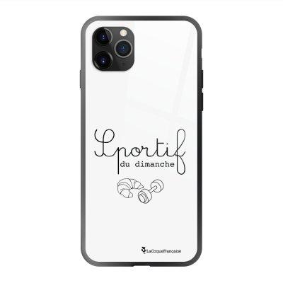 Coque en verre trempé iPhone 11 Pro Max Sportif du dimanche Ecriture Tendance et Design La Coque Francaise