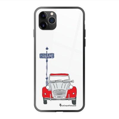 Coque en verre trempé iPhone 11 Pro Max 2CV cocorico BLANC Ecriture Tendance et Design La Coque Francaise