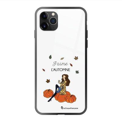 Coque en verre trempé iPhone 11 Pro Max J'aime l'automne Ecriture Tendance et Design La Coque Francaise