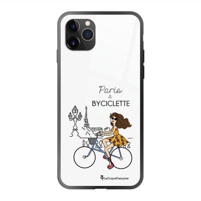 Coque en verre trempé iPhone 11 Pro Max Paris à Bicyclette Ecriture Tendance et Design La Coque Francaise