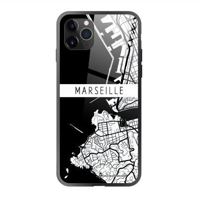 Coque en verre trempé iPhone 11 Pro Max Carte de Marseille Ecriture Tendance et Design La Coque Francaise