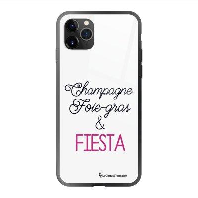 Coque en verre trempé iPhone 11 Pro Max Champagne Foie gras et Fiesta Ecriture Tendance et Design La Coque Francaise