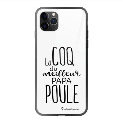 Coque en verre trempé iPhone 11 Pro Max Meilleur papa poule Ecriture Tendance et Design La Coque Francaise
