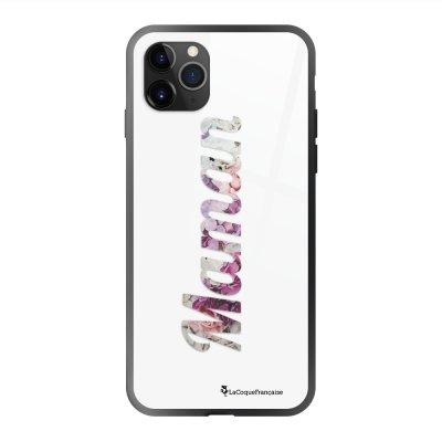Coque en verre trempé iPhone 11 Pro Max Maman Fleur Ecriture Tendance et Design La Coque Francaise