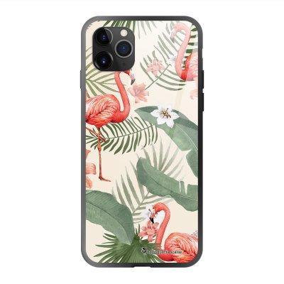 Coque en verre trempé iPhone 11 Pro Max Flamants Rose Ecriture Tendance et Design La Coque Francaise